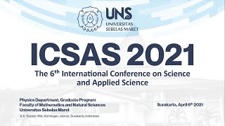 ICSAS 2021 | INTERNATIONAL CONFERENCE ON SCIENCE AND APPLIED SCIENCE